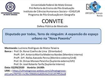 defesa de Dissertação de Luzirene Rodrigues de Matos Teixeira